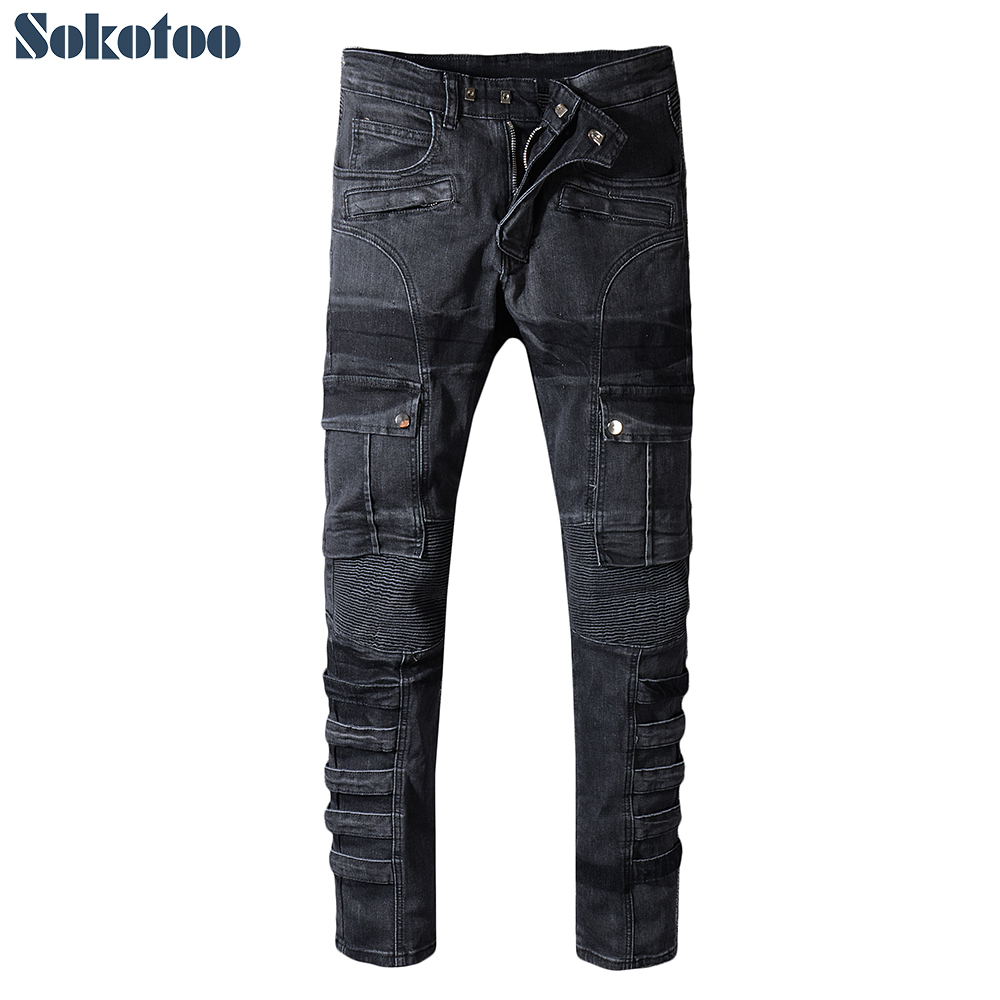 Sokotoo Men's Pockets Patchwork Black Cargo Biker Jeans For Motorcycle Plus Size Slim Fit Pleated Stretch Denim Pants