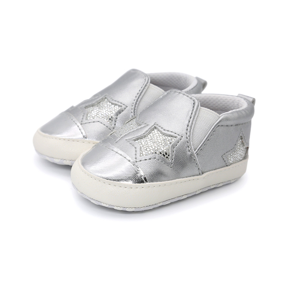 Cute Star Eyes Baby Shoes Shallow Cartoon Bling PU Girl Boy Toddlers Cotton Soft Sole Casual First Walkers Wholesale in First Walkers from Mother Kids