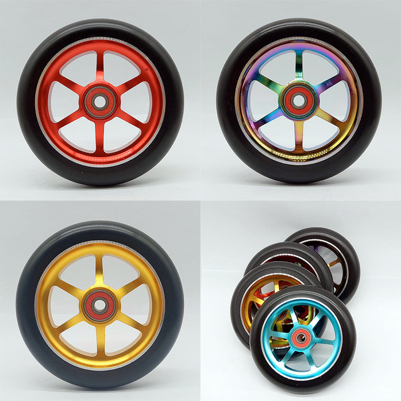 2PCS 120mm Stunt Scooter Wheels With Oxidation Polishing Aluminum Alloy Hub High Elasticity PU 608 ABEC