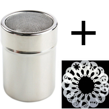Stainless Steel Chocolate Shaker Cocoa Flour Coffee Sifter + 16Pcs Coffee Stencils Template Strew Pad Duster Spray