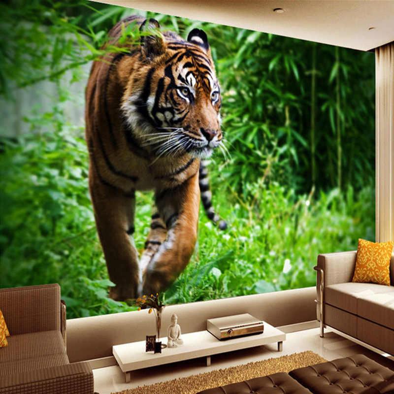 مخصص صور ورق حائط 3D النمر المعيشة غرفة التلفزيون حائط الخلفية جدارية كبيرة طلاء جدران غير المنسوجة ورق حائط لغرف النوم الجدران