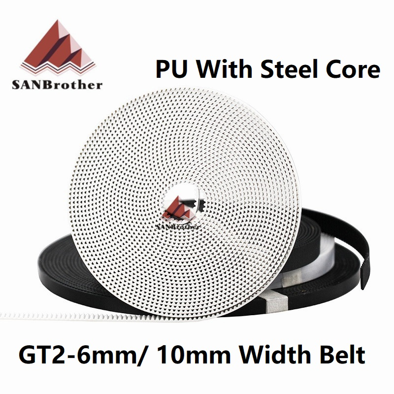GT2 Belt PU with Steel Core GT2 Belt 2GT Timing Belt Width 6mm 10mm for 3D printer parts Anti-wear Reinforce Open Belt
