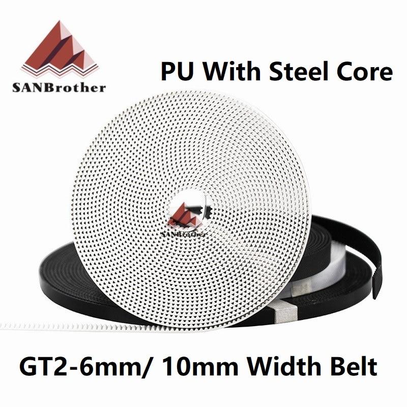 GT2 Belt PU With Steel Core GT2 Belt 2GT Timing Belt Width 6mm 10mm For 3D Printer Parts Anti-wear Reinforce Open Belt