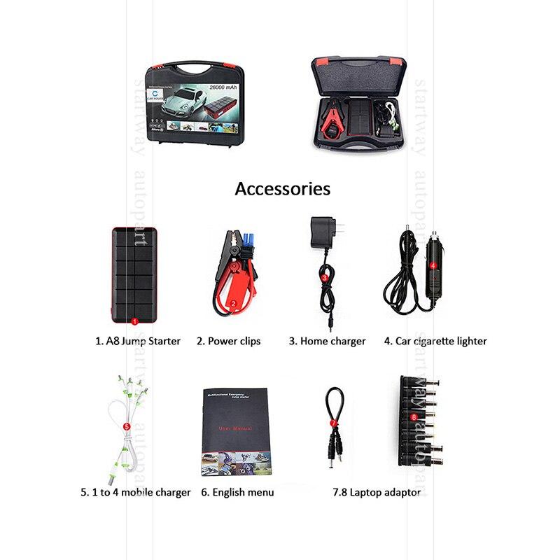 26000 Mah Car Jump Starter Power Bank 12v Emergency Car Battery
