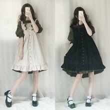 Хлопковое платье лолиты с короткими рукавами и высокой талией; классические милые кружевные платья принцессы с бантом; маскарадные костюмы