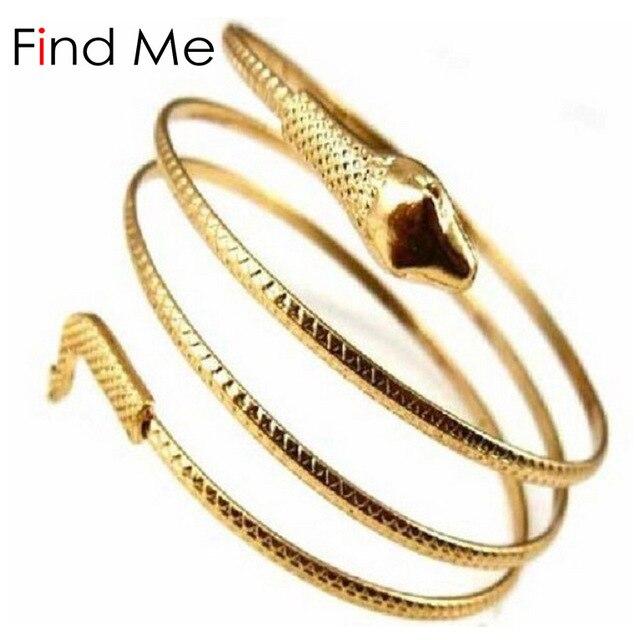 Find Me 2018 Fashion Vintage Curved Stretch Snake Cuff Bracelet Punk Boho Bangle For