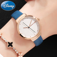 Women New Mickey Mouse Woman Simple Fashion Leather Quartz Water Resistant Lady Dress Classic Wrist Watches Genuine Disney Clock
