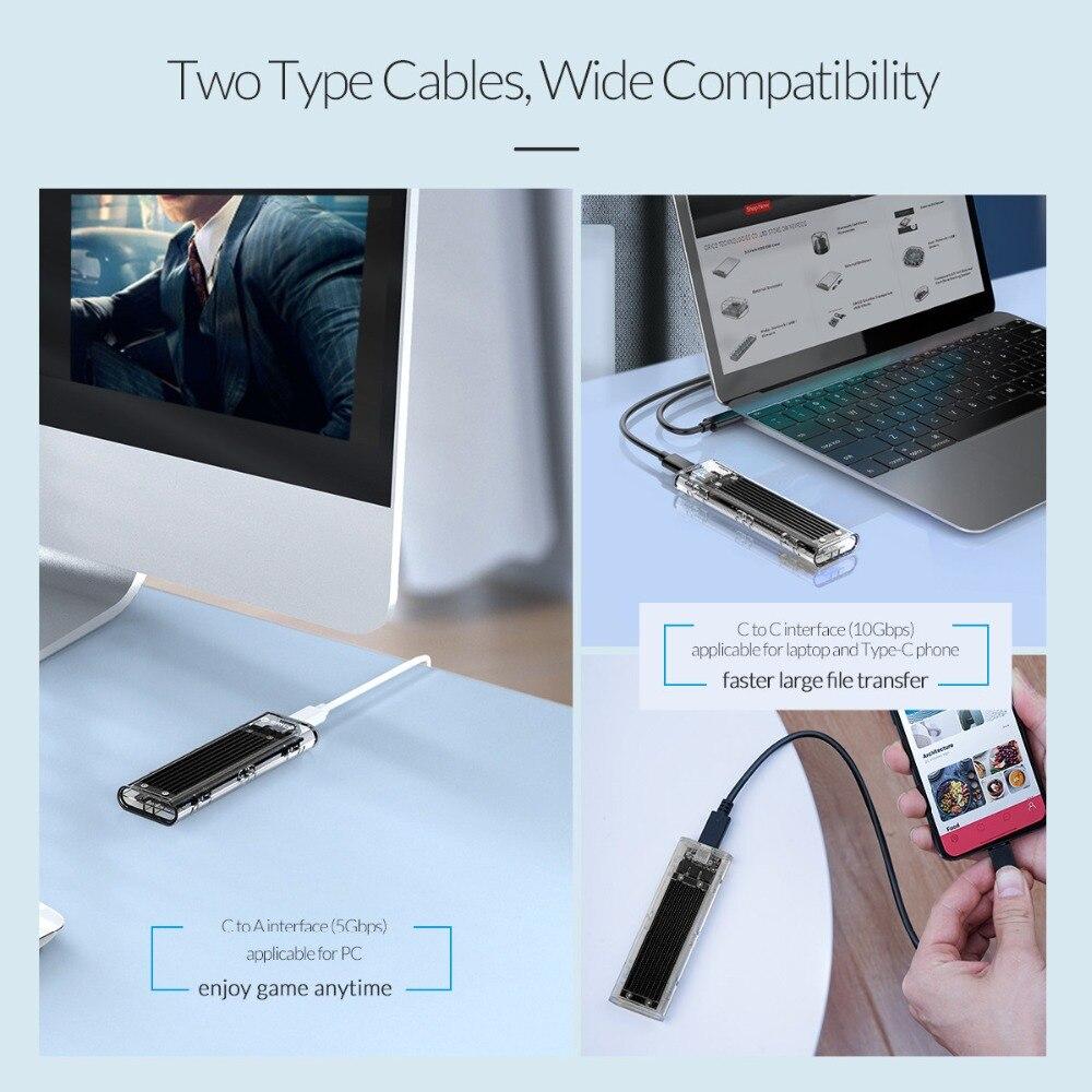 ORICO Transparent M.2 boîtier SSD NVME 10gbps Soutien UASP USB3.1 Gen2 Type-c Mini SSD Boîtier Avec C à C et C avec Un Câble - 5