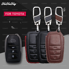 KUKAKEY Leather Car Key Case Cover For Toyota Chr C-hr Land Cruiser 200 Avensis Auris Corolla Smart Keychain Shell Accessories soft tpu car key case cover keychain for toyota avalon 8 camry 2019 levin ioza chr