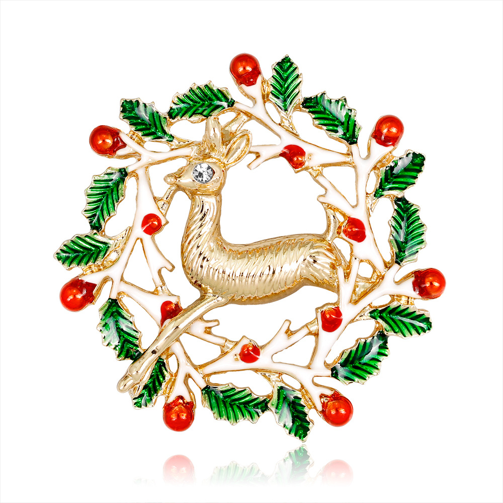 CHUKUI New Year Christmas Enamel Brooch Flower Wreath Deer Brooch Pin For Women Party Jewlery Christmas Gift (3)