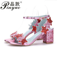 Plus size 34 40 new fashion glittering star ankle buckle strap gladiator sandals women party shoes bling high heels pumps