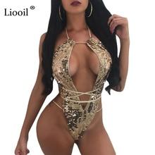 Liooil Sexy Боди Для женщин Холтер выдалбливают спинки бинты комбинезон без рукавов ночной клуб Летний комбинезон Корректирующие боди для женщин