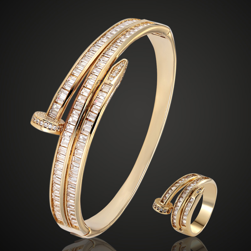 Brand Cubic Zircon bangle For Women Party Anniversary Jewelry Copper Men Bangle Pulseira Women s Gold