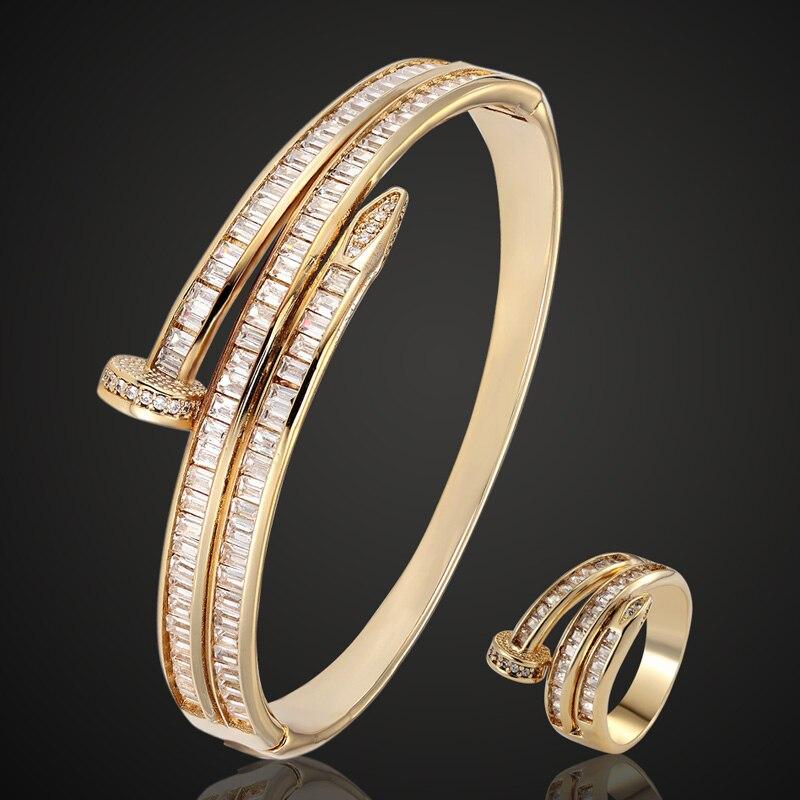 Marque cubique Zircon bracelet pour femmes fête anniversaire bijoux cuivre hommes bracelet Pulseira femmes couleur or bracelet & bracelets-in Manchette Bracelets from Bijoux et Accessoires    1
