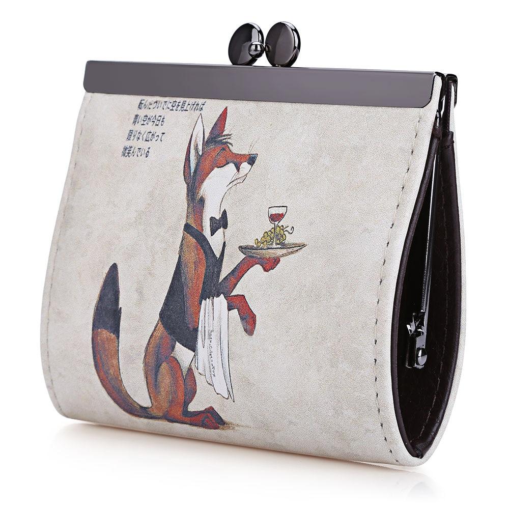 Cartoon Women Wallet Leather Women Purse Fox Female Bags Coin Purse Cute Small Wallets Short Animale Prints Girls Money Bag Lady