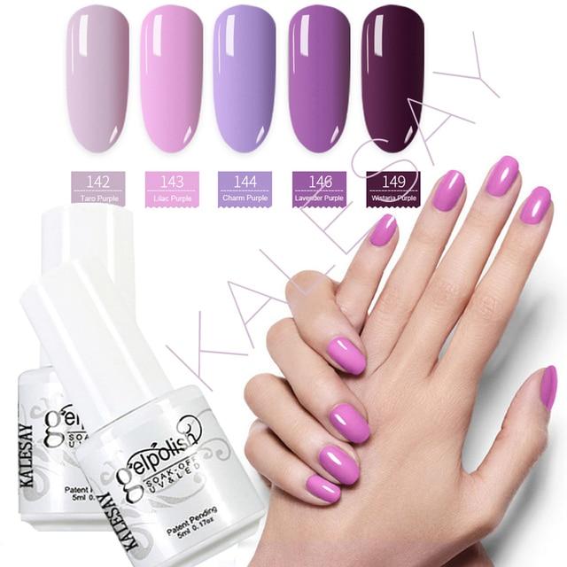 Nude Gel Nail Polish 5ml Soak Off Gel Nail Polish UV LED Purple ...