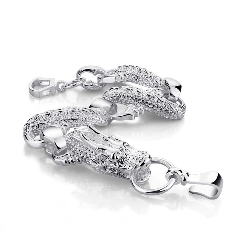 Fashion men's 10MM23cm bracelet 100% solid 925 silver bracelet gentleman.Retro swagger sterling silver dragon bracelet jewelry