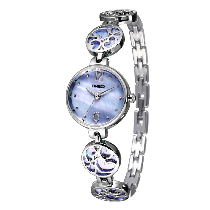 TIME100 Women Quartz Watches purple shell dial Jewelry Hollow out heart Strap Ladies Bracelet Watch relogio feminino time100 vintage women s bracelet watch diamond shell dial copper plated strap ladies quartz watches for women relogio feminino