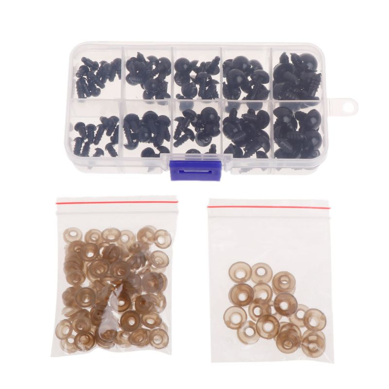 100pcs Plastic Safety Eyes for Bear Doll Puppet Plush Animal Toy 8 Color 10-12mm