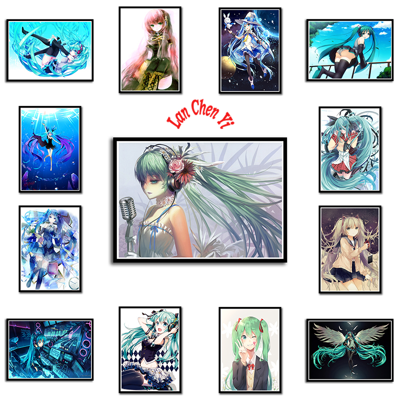 Hatsune Miku Japanese anime Coated paper poster Office Gift Room Dining Home Decor wall sticker Design
