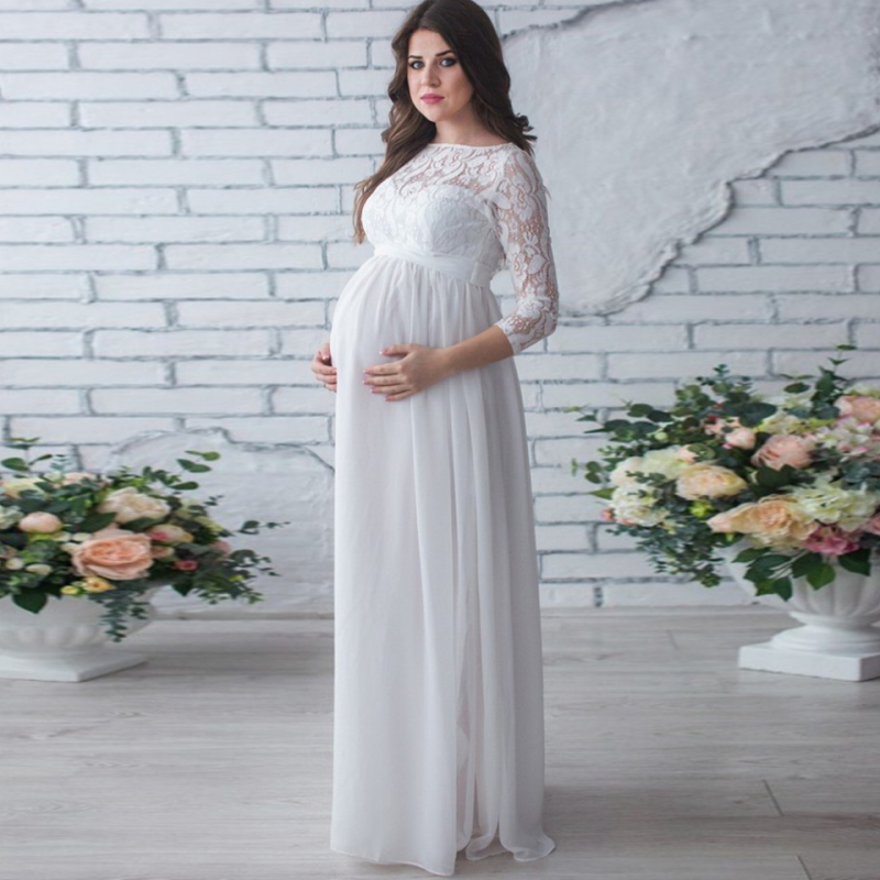 Maternity Dress Lace Chiffon Maxi Long Dress for Pregnant Wedding Party Dresses Autumn Spring Pregnancy Clothes Solid Dress New ladylike long sleeve stand up collar lace and chiffon splicing solid color dress for women