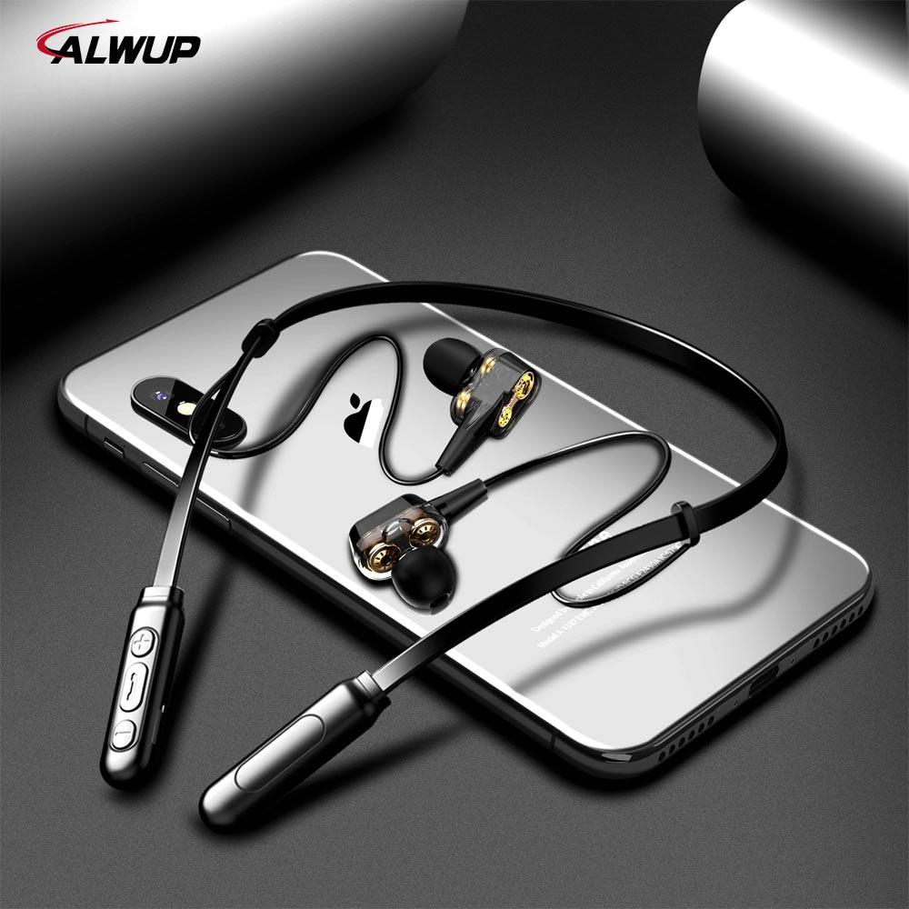 ALWUP G01 fone de Ouvido Bluetooth Sem Fio Fones De Ouvido Quatro Unidade de Acionamento Duplo Híbrido Dinâmico Graves Profundos Fone de Ouvido para Celular com microfone 5.0