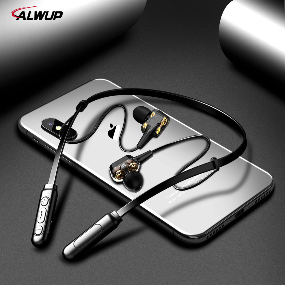 ALWUP G01 Bluetooth Earphone Wireless Headphones Four Unit Drive Double Dynamic Hybrid Deep Bass Earphone for Phone with mic 5 0
