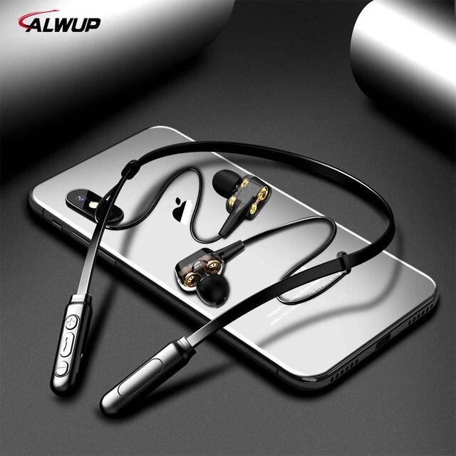 ALWUP G01 słuchawki Bluetooth bezprzewodowy/a słuchawki cztery jednostki jazdy samochodem podwójne dynamiczny hybrydowy głęboki bas słuchawka do telefonu z mikrofonem 5.0