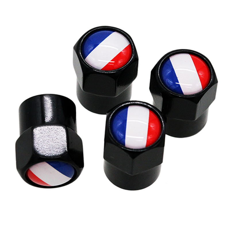 HAUSNN 4Pcs/Set Car Wheel Tire Valve Caps Stem Cover Auto Styling Flag Of France Logo Stickers For Opel Peugeot Citroen