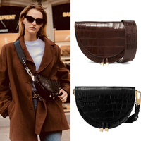 Fashion Alligator Leather Saddle Bag Women Luxury Shoulder Bags Small Round Handbag Spring and Summer Crossbody Messenger Bags