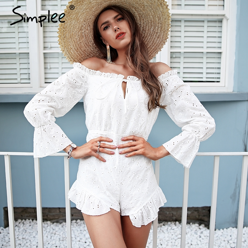 Simplee Lace up backless   jumpsuit   romper women Off shoulder cotton white summer romper Ruffle long sleeve high waist playsuit