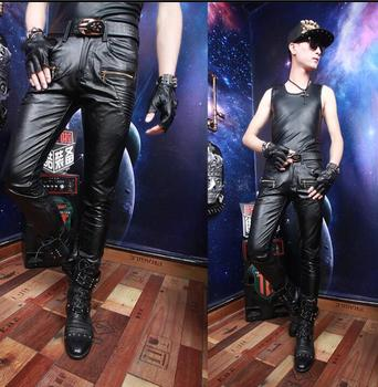 Autumn winter personality fashion motorcycle faux leather pants mens feet pants pu tight trousers for men pantalon homme singer