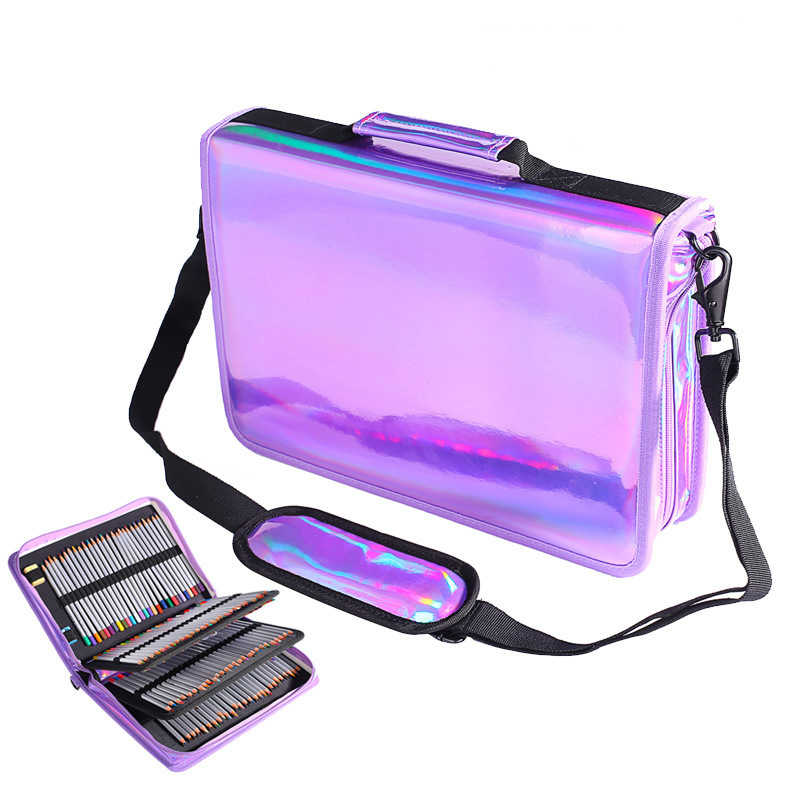 160 Holders large capacity Laser pencil case PU Sketch drawing pen Pencil bag pencilcase Stationery Supplies Penalty 3008 cute girl penalty pencil case with lock big capacity pu korean stationery for girls pen bag pouch pencilcase school supplies