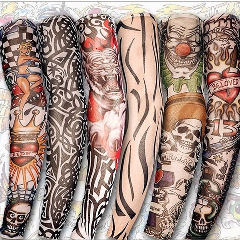 Men's Arm Warmers 2 Pcs/lot Punk Men Women Uv Sunscreen Skull Theme Fake Tattoo Long Sleeves Arm Warmers Multicolor Buy One Give One