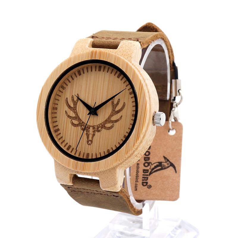 Prix pour Bobo bird nouvelle de luxe en cuir bande bambou montres buck chef main quartz montre-bracelet relogio masculino relogio c-d15