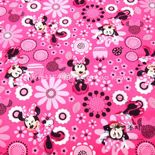 105X100cm Minnie Allover Flowers Hot Pink Cotton Fabric for Baby Girl Clothes Bedding Set Curtain Cushion Cover DIY-AFCK313