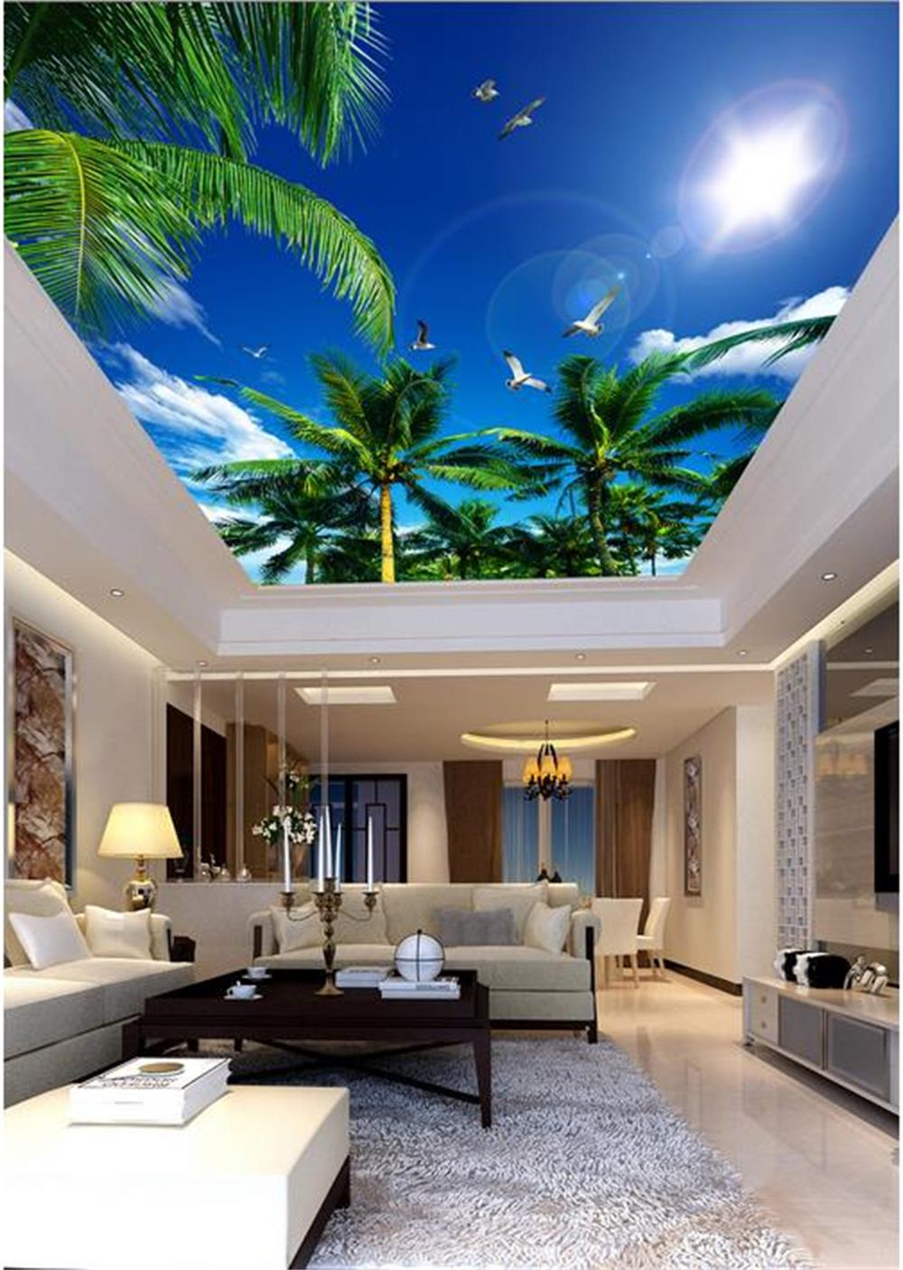 3D wallpaper ceiling/custom photo wall paper/Coconut trees, blue sky seagull/Bedroom/KTV/Hotel/bar/living room/Children room custom ceiling wallpaper blue sky and white clouds murals for the living room bedroom ceiling background wall mural wallpaper
