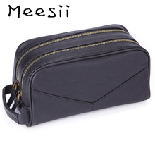 Meesii Mens double leather bag Fashion travel handbag Leisure zipper Business Package Large volume Clutches bags for men