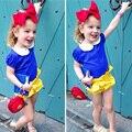 2016 Meninas Novas do Verão Define Moda Meninas Outfits 3 pcs Tops + calças + Headband Do Bebê Da Menina Roupas Floral Infantil Do Bebê Roupas de Menina