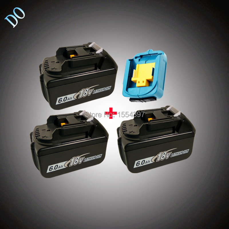 3PCS 18V BL1860 Li-ion 6000mAh Replacement for Makita 18V BL1840 BL1830 BL1850 Rechargeable Power Tool Battery with USB Adapter набор bosch ножовка gsa 18v 32 0 601 6a8 102 адаптер gaa 18v 24