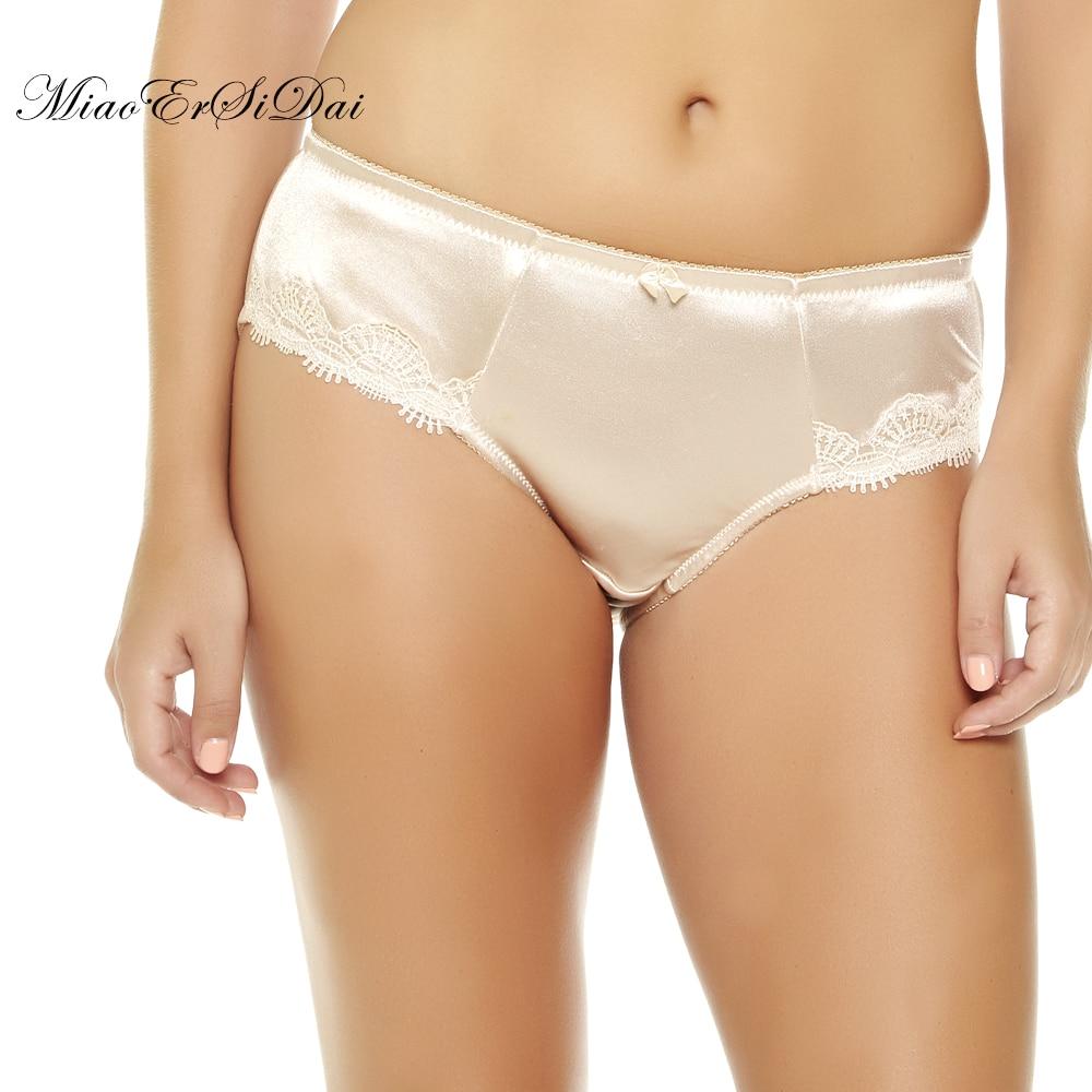Жінки плюс розмір трусики з високою талією атласна вишивка Трусики нижня білизна M / L / XL / XXL / 3XL / 4XL / 5XL / 6XL / 7XL