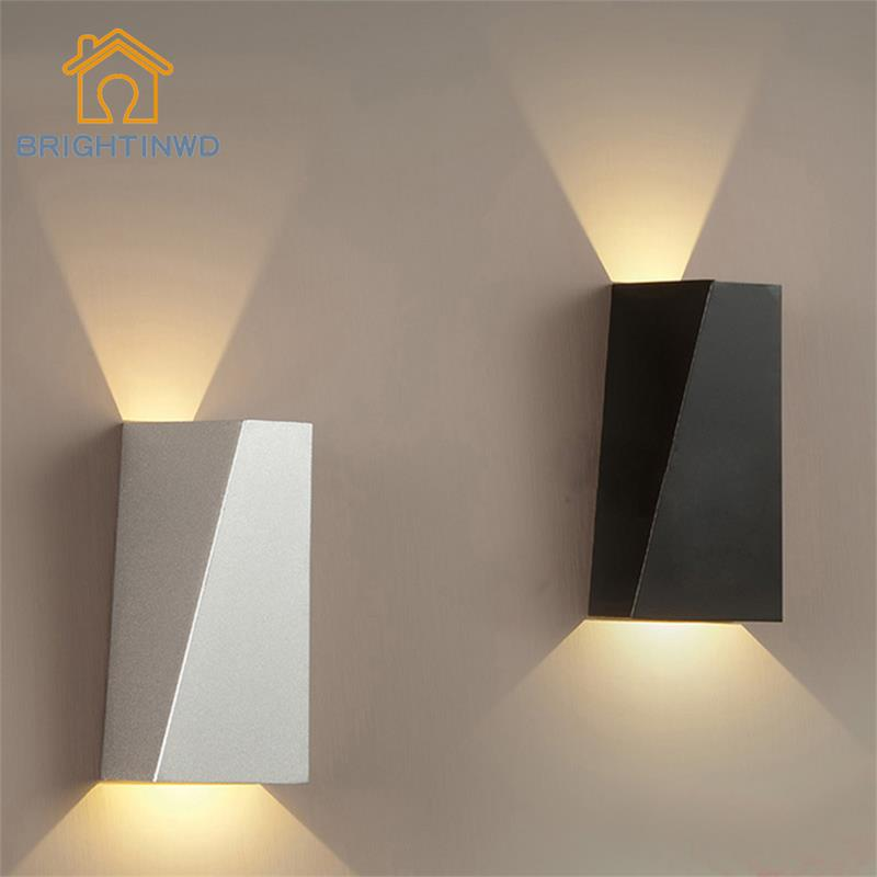 10W Lámpara de pared LED moderna Geometría de doble cabezal Lámpara de pared de cabecera Luz Sala de estar Pasillo Lámpara de pared Pasillo Luz de pared BRIGHTINWD