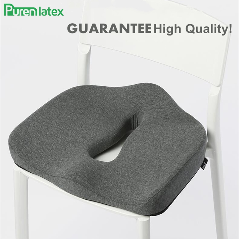 PurenLatex Memory Foam Cushion On Chair Orthopedic Office Seat Pad Hemorrhoid Treat Car Seat Coccyx Relief Pain Pressure Pillow