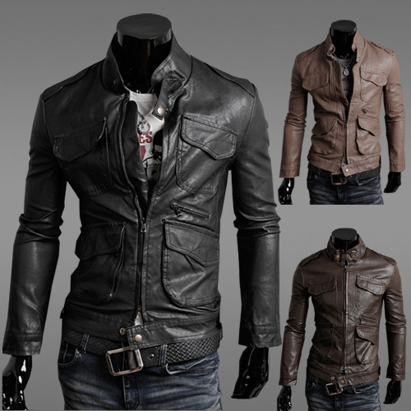 2016 Korean Fashion Man Windproof Leather Jacket Black & Brown Men