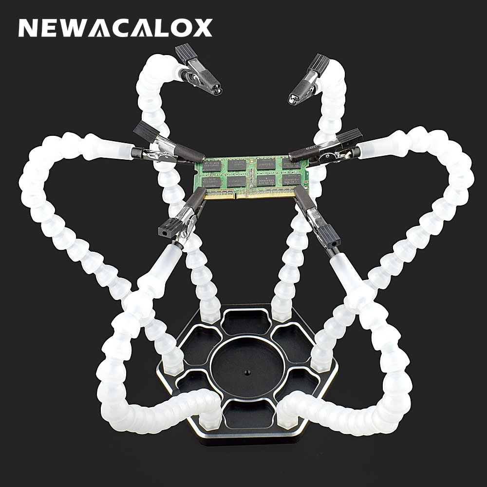 NEWACALOX Soldering Helping Hands Third Hand Tool Soldering Holder With 6PC Flexible Arms For PCB  Board Welding Repair Tool
