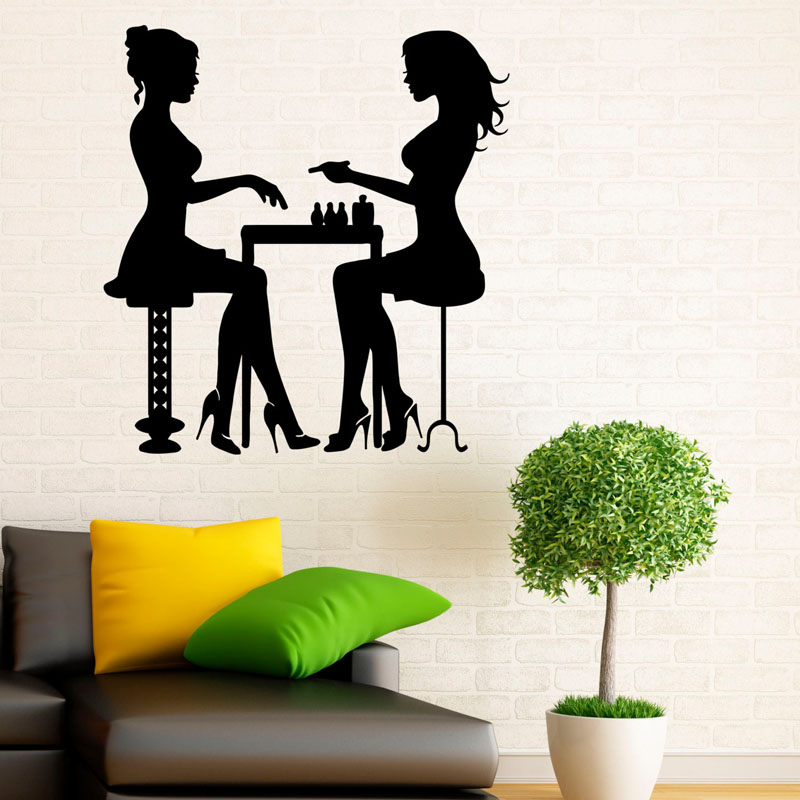 Manicure Salon Wall Stickers Vinyl Art Home Decor Girls Hands Nails Wall Decals Decorations For Bedroom