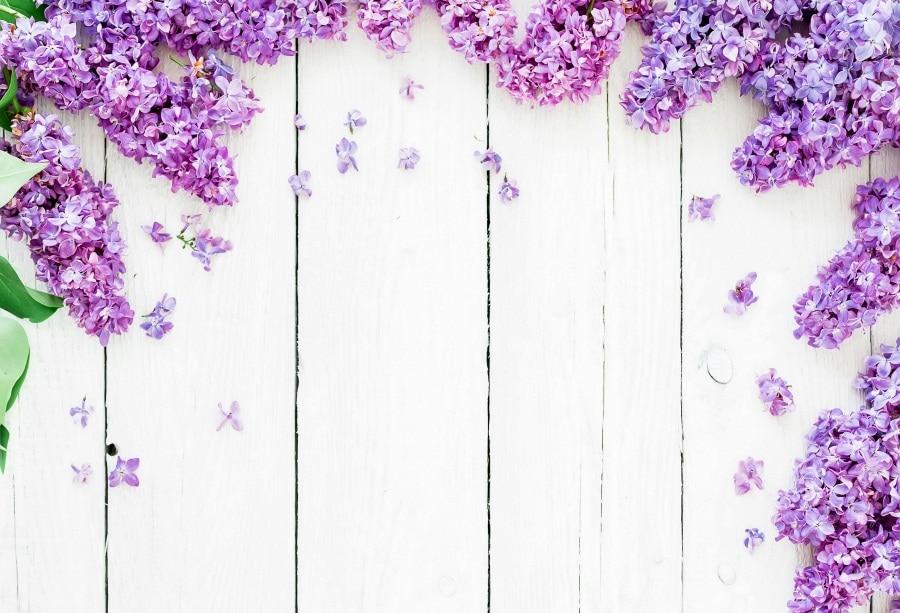 Laeacco Lavender Flowers Wooden Boards Floor Texture Scene Baby