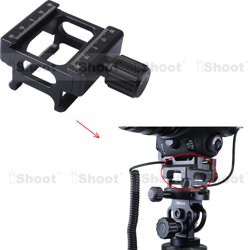 II Height Increaser Adapter for Tripod Ball Head Vertical Shoot Quick Release Plate Camera Grip Bracket -Adjust Data Cable Space