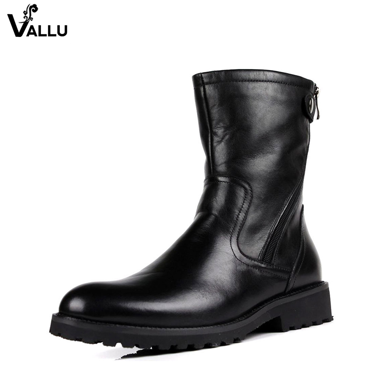 Natural Leather Men Boots 2018 New Design Autumn Winter Male Booties Button Strap Zip Fashion Mans Block Heel Shoes men button