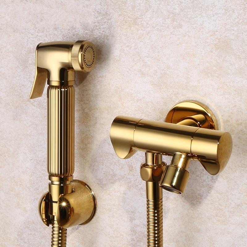 Gold Brass Hand Held Toilet Bidet Spray Shower Head Douche Kit